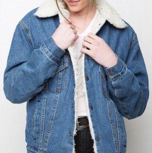 Jackets & Blazers - Brandy Melville fuzzy denim jacket
